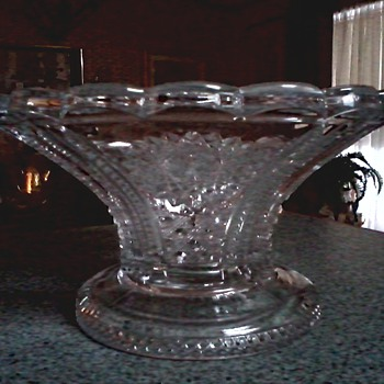 "Heisey Glass /Punch Bowl Stand/ Beaded Panel ""Sunburst"" Pattern/ Marked Diamond ""H""/ Circa 1900-1957"