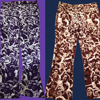 #19 ~ TWO pair of early 1970's WOODSTOCK 1969 Bellbottoms