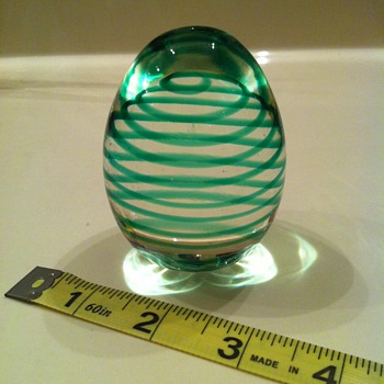 Murano Egg Paperweight Green Swirl - Art Glass