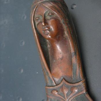 Art Nouveau Bronze Indian Maiden Letter Opener Signd A. Reimann 1901
