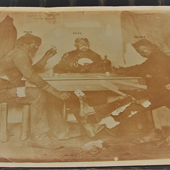 Old Black American Photograph of guys playing Crds and Cheating