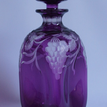 A Cased Amethyst Decanter - Art Glass