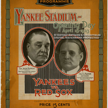 Rare 1923 Yankee Stadium Opening Day Program &amp; 2 Tickets to the Game