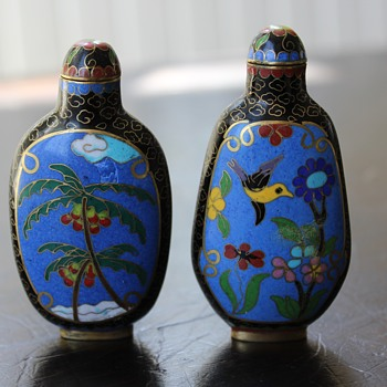 Pair of Cloisonne Flowers and Butterfly Snuff Bottles - Asian