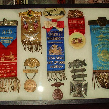 True Antiques...Fireman Badges...Medals...From 1887 To 1914