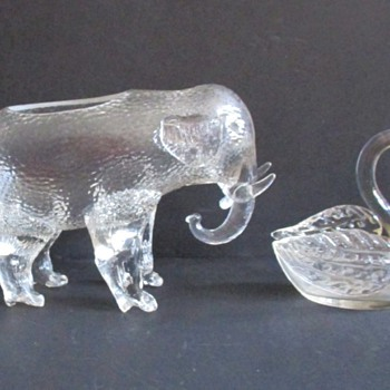 LOETZ ELEPHANT AND SWAN, 1920'S - Art Glass