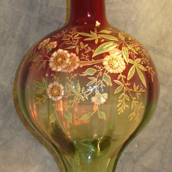 Rubina Verde Bottle form vase attributed Legras