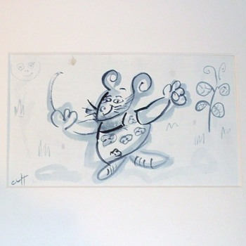 UNUSUAL INK DRAWING AND CHINESE SCREEN PRINT   - Asian