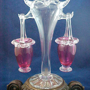 Antique Victorian Colourless Fan Vase with Applied Cranberry Baskets - Art Glass