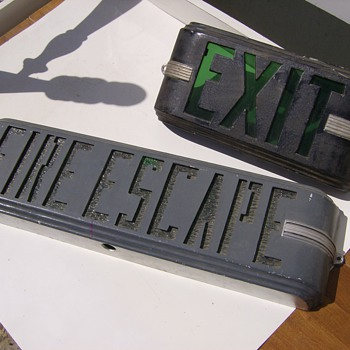 Exit signs - lighted deco style cast aluminum. Need info please - Signs