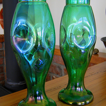FABULOUS PAIR OF KRALIK VASES  - Art Glass
