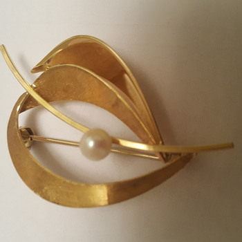 14k gold brooch with single pearl - Fine Jewelry