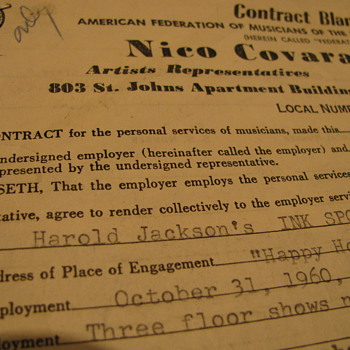 Harold Jackson signed contract for Ink spot Performance in October 1960. - Music