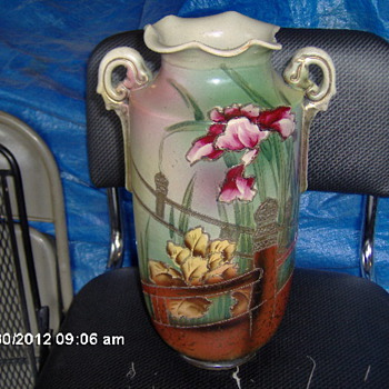 Large Antique  Hand Painted Pottery Umbrella Vase