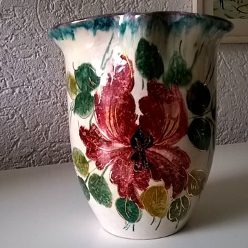 Vintage Flowered Vase, Unusual.