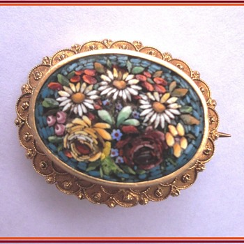 Micro Mosaic Flower Brooch 14K  Etruscan style gold