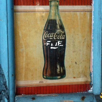 Coke sign in a window in my neighborhood - Coca-Cola