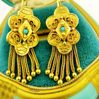 Antique Victorian Turquoise Tassel 14k Rose Gold Earrings - Fine Jewelry