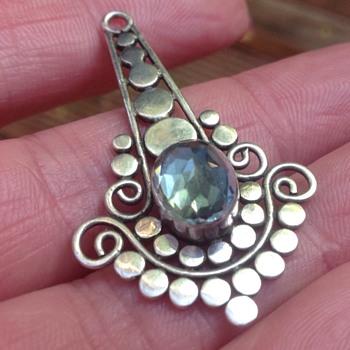 Vintage Silver Aquamarine Pendant - Fine Jewelry