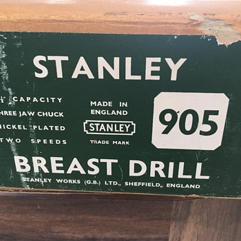 BOXED Unused Vintage Tool Stanley 905 Breast Drill WITH Tag