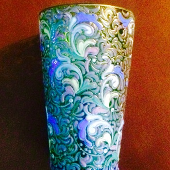 Nouveau Harrach Enamelled Cup  - Art Glass