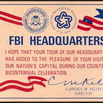 1976 - FBI Headquarters Tour Souvenir