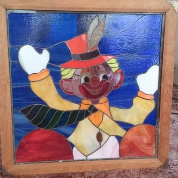 Antique stained leaded glass clown picture - Art Glass