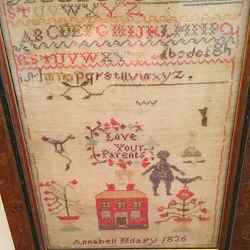 Antique framed embroidery 17x13, dated 1836