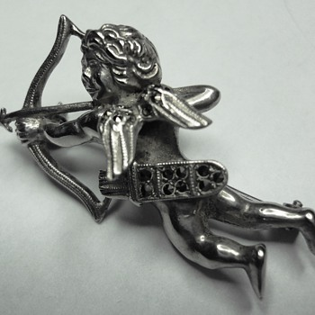 Silver Marcasite Cupid Brooch with bow and arrow  - Costume Jewelry