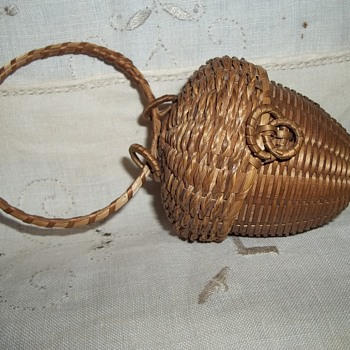 Miniature Acorn String Basket, 1890 With Provenance of Original Ownership