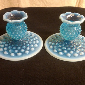 PAIR OF FENTON BLUE OPALESCENT HOBNAIL CANDLE HOLDERS
