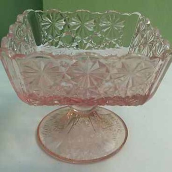LG Wright Glass - Daisy & Button - RARE Pink Footed Square Sherbet - Glassware