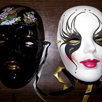 Porcelain Mardi Gras Masks - Art Pottery