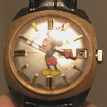 Vintage West German Self Winding 17 Jewels MICKEY MOUSE day date watch
