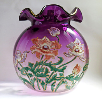Large Enameled Legras Saint-Denis Vase with Anemones in 'Violetinne' Glass