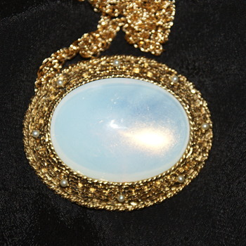 Costume Brooch/Pendant with Opaline Glass - Costume Jewelry