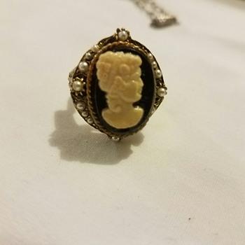 Vintage HONG KONG Cameo Ring and matching necklace?