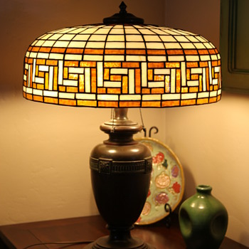 Greek Key Leaded Glass Shade - Lamps