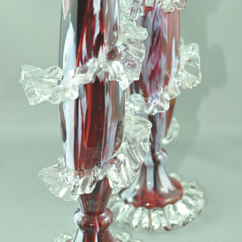 Antonin Rückl & Sons / Ruckl Bohemian Vase, Red Lined Glass with Oxblood Red & White Spatter Decor