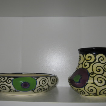 Art Deco Czech Pottery Slip Design Decor 30's - Art Pottery