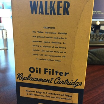 Vintage Oil Filter Cartridge - Walker RC 67 - Advertising