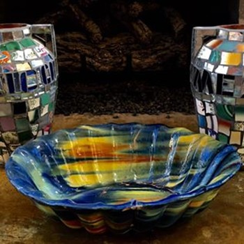 Large Oaxacan Dripware Centerpiece or Fruit Bowl and Two Mosaic Urns - Art Pottery