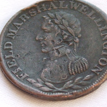 Two Old Tokens-Field Marshal Wellington Half Penny & 1820 Irish? Token - World Coins