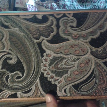 wooden antique jewelry box with flower patterns cloth