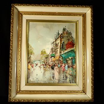 European Street Scene Oil Painting  - Visual Art