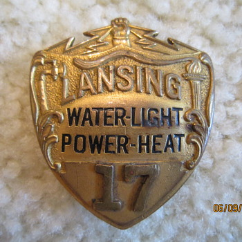 Early 1900's Lansing Michigan Water-Light Power-Heat Public Utility Hat Badge #17 - Medals Pins and Badges