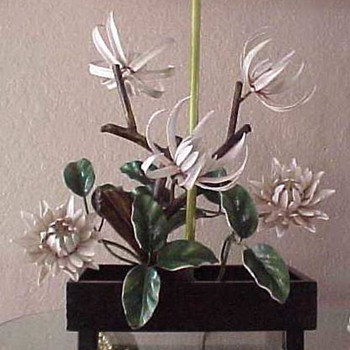 Fabulous post 40's painted iron lamp bonsai form  - Lamps