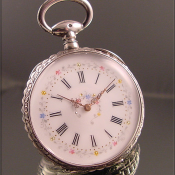 Swiss Fancy Dial Sterling Silver Cylinder Escapement Pocket Watch