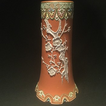 Terra cotta vase with moriage