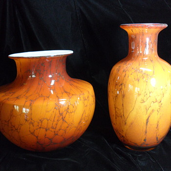 Pair of Glass Vases ~ Unknown maker - Art Glass